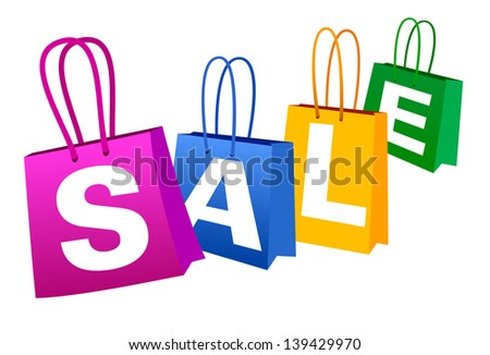 Concept SALE Banner with Shopping Bags - Raster Version - stock photo