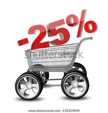 Concept SALE discount 25 percent. shopping cart with big car wheel High resolution 3d render - stock photo