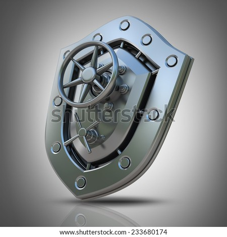 Concept. Shield depicting protection with a Banking metallic door. High resolution 3D  - stock photo