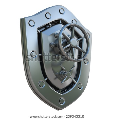 Concept. Shield depicting protection with a Banking metallic door  isolated on white background. High resolution 3d