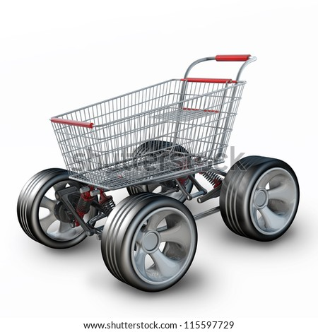 Concept. shopping cart with big car wheel isolated on white background High resolution 3d render