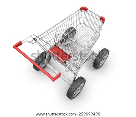Concept shopping cart with car wheels on a white. 3d render image. - stock photo