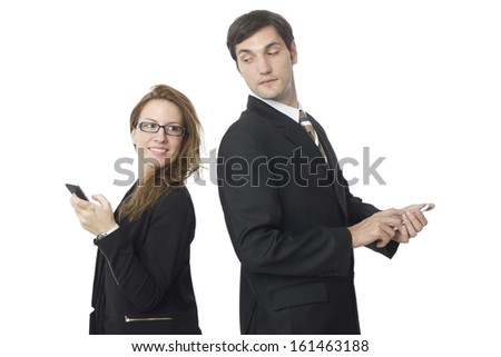 Concept shot of a young e couple communicating using smart phone. Studio shot on white background.