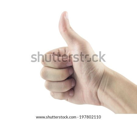 Concept showing thumb finger hand isolated on white