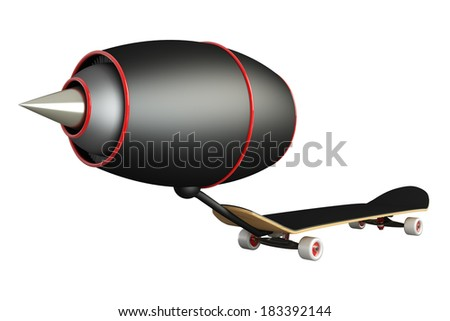 Concept. Skateboard turbine engines. isolated on white background. 3d
