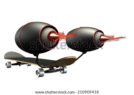 Concept. Skateboard two turbine engines, flames of fire. isolated on white background. 3d - stock photo