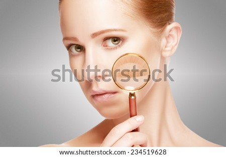 concept skincare. Skin of beauty young woman with magnifier before and after the procedure on a white background - stock photo