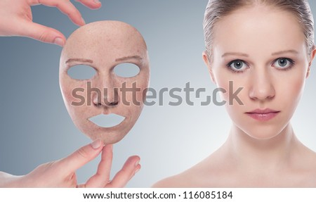 concept skincare with  mask . Skin of beauty young woman before and after the procedure  on a gray background - stock photo