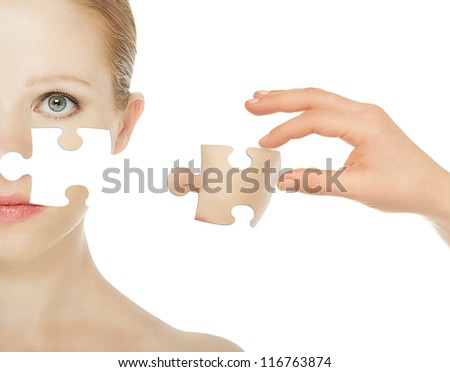 concept skincare with puzzles. Skin of beauty young woman before and after the procedure isolated on a white background - stock photo
