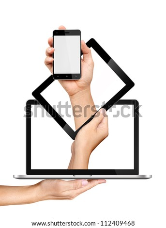 Concept smartphone tablet pc and laptop in hands Isolated on white background - stock photo