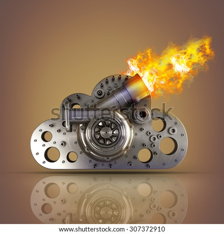 concept. steel cloud turbocharger of car. High resolution 3d - stock photo