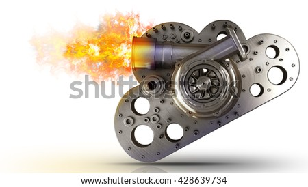 concept. steel cloud turbocharger of car isolated on white background. High resolution 3d - stock photo