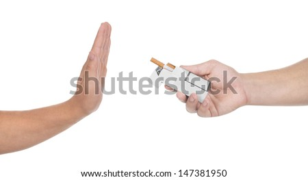 Concept: stop smoking, isolated on white - stock photo