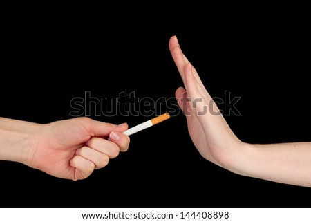 Concept: stop smoking, on black background - stock photo