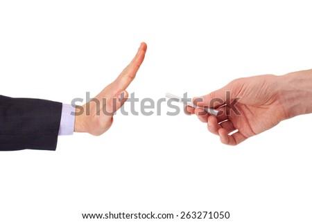Concept: stop smoking, on white background - stock photo