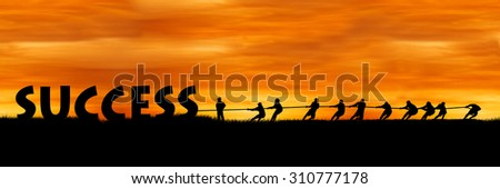 concept success and team work, The fight between success and people sunset background - stock photo