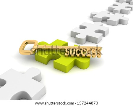 concept success golden key on green jigsaw puzzle - stock photo