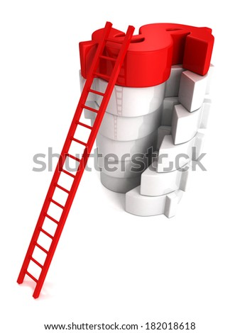 Concept success ladder to top red Dollar symbol. Business achivement money earning 3d render illustration