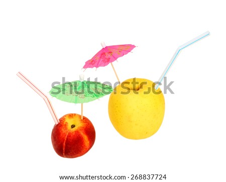 Concept, symbolizing natural juice, freshly squeezed apple and peach juice - stock photo