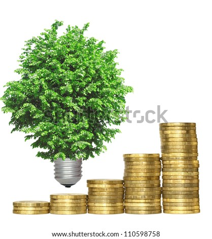 concept, symbolizing the economic efficiency of environmental technologies - stock photo