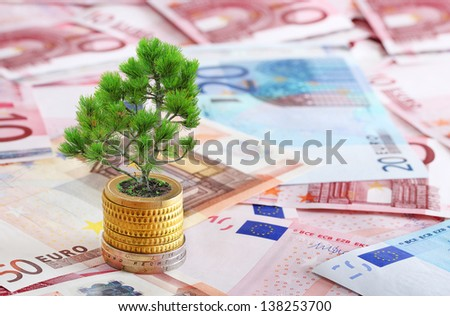 concept symbolizing the growth of investment or deposit  - stock photo