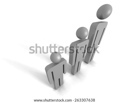 Concept Team Group Of Business People Icons. Teamwork 3d Render Illustration - stock photo