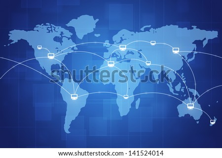 concept tech illustration of world wide internet connections