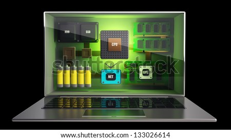 CONCEPT. thin laptop with the three-dimensional screen and processor, memory, video, network, batteries, inside. isolated on black background High resolution 3D - stock photo