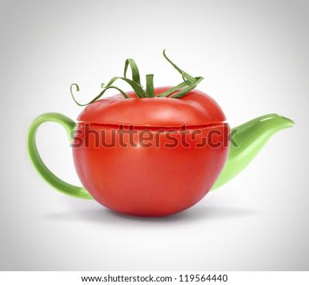 Concept tomato teapot - stock photo