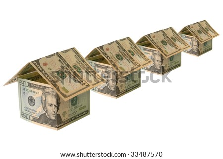 Concept towards real estate and house construction financing. A row of four houses made of ten and twenty dollar banknotes on white background.