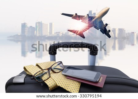 concept travel , passenger plane on sky and very beautiful , use for air transport ,journey and travel industry business  - stock photo