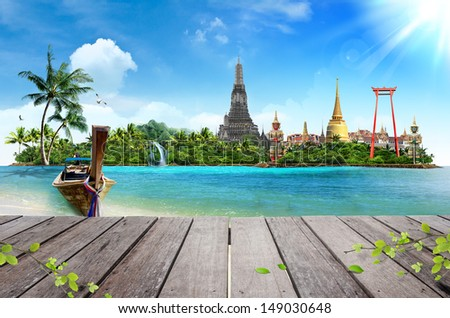 Concept travel Tropical beach, traditional long tail boats and wood planks floor - stock photo