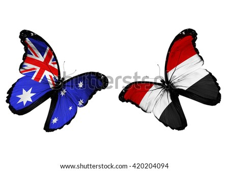 Concept - two butterflies with Australia and Yemen  flags flying