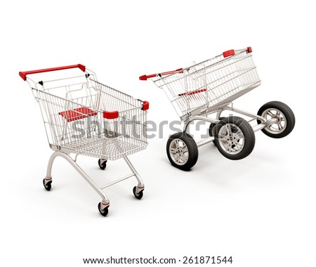 Concept two carts for a supermarket. Trolleys isolated on white background. 3d illustration. - stock photo