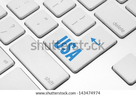 concept: USA key on the computer keyboard - stock photo