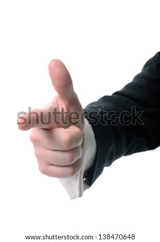 Concept we want you, hand pointing at screen isolated on white background