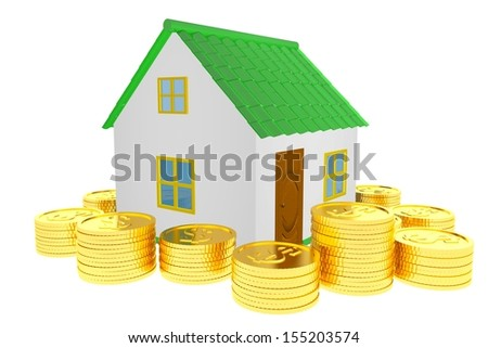 Concept wealth house 3d isolated
