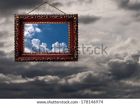 Concept. window on the weather or positive frame of mind. - stock photo