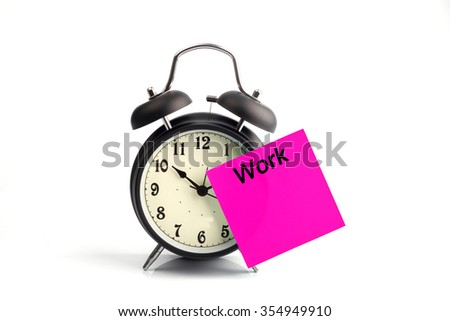 concept with alarm clock and pink time adhesive note - stock photo
