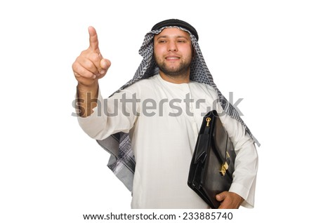 Concept with arab man isolated on white - stock photo