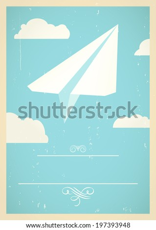 Concept with paper plane flying in the sky.  - stock photo