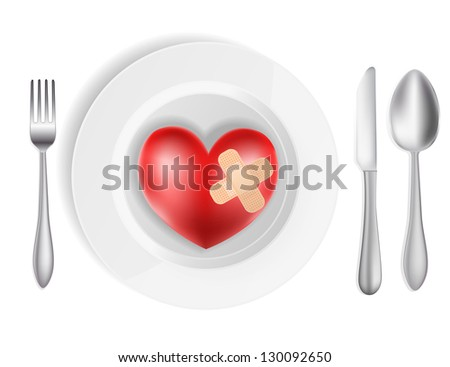 concept with plate, fork, knife and heart - stock photo