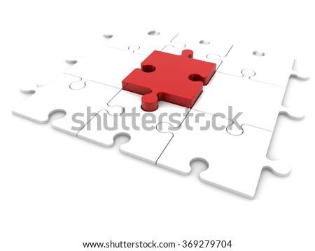 Concept with puzzle pieces - stock photo