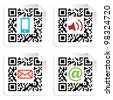 Concept with QR code label with the social media icons. - stock photo