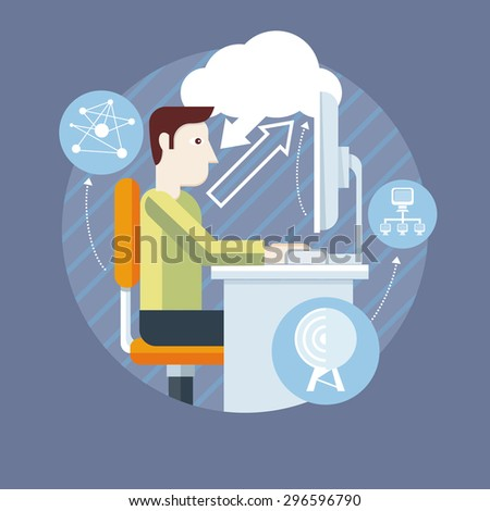 Concept with text. Fellow front of the monitor. Exchange of information through the cloud. Icons for web design, analytics, graphic design and in flat design. Raster version - stock photo