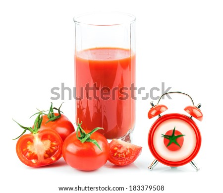 Concept with tomato juice, red clock and tomato isolated on white background