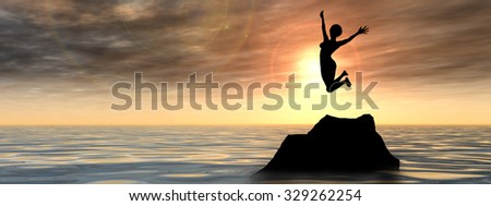 Concept young woman or businesswoman silhouette jump happy on cliff over water sunset or sunrise sky background banner metaphor to freedom, nature, vacation, success, free, joy, health or risk