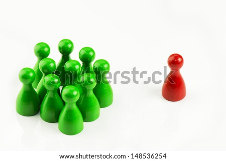 Conception - Game figures in a business situation on white background