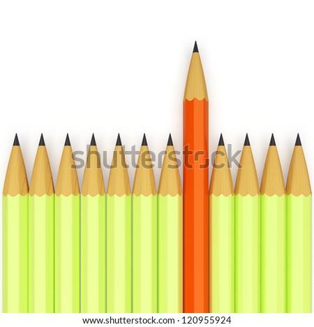 Conception of leadership. Unique orange pencil - stock photo