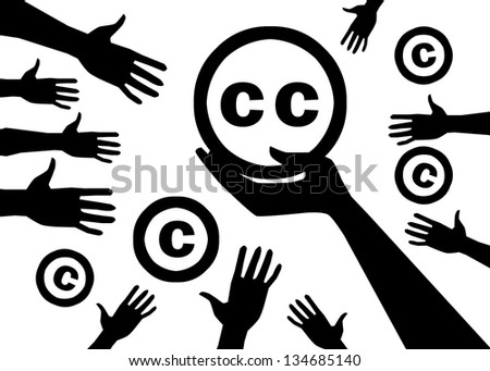 Conception of legal noncommercial is licenses Creative commons - stock photo